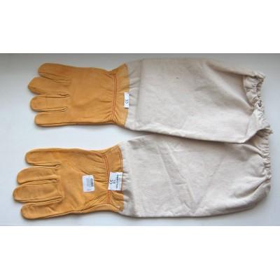 Перчатки с нарукавником кожаные
