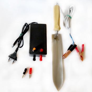 КОМПЛЕКТ: Нож пасечный с электроподогревом из нерж. стали и блок питания 12В